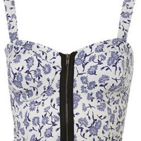 Floral Zip Bralet - Bralets &amp; Bandeaus - Jersey Tops  - Apparel