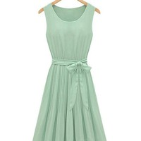 Sleeveless Bowknot Belt Pleated Dress