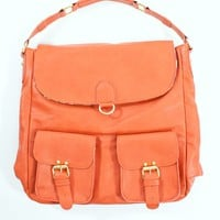Burnt Orange Tote/Backpack with Gold Hardware