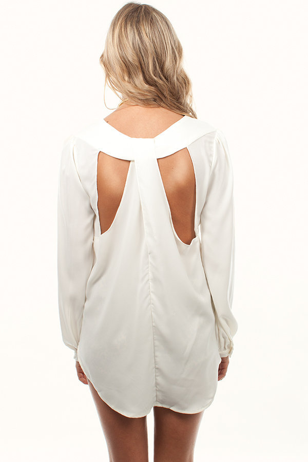 Ivory Chic Button Down Blouse with Butterfly Back