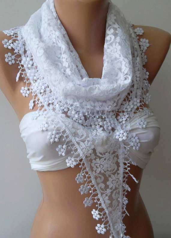 White / Elegance  Shawl / Scarf with Lacy Edge.