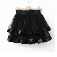 Black Net Yarn Ball Gown Skirt - Sheinside.com