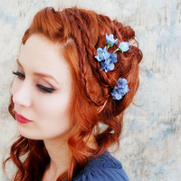 First blooms of spring - woodland blue blossom bobby pin set
