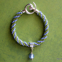 Kumihimo Beaded Bracelet in Pale Purple and Green