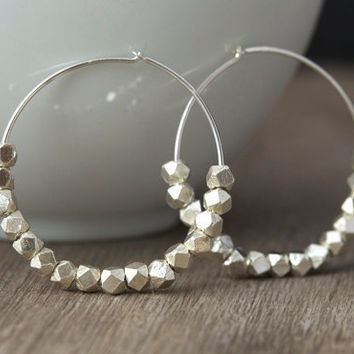 Large hoop earrings with Karen Hill tribe silver beads