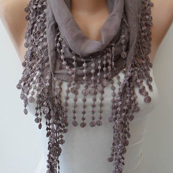 Pale Brown  - Lightweight Summer Scarf with Trim Edge