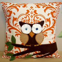 Owl Pillow Cover Appliqued Throw Pillow 16x16 Accent Decorative Couch Bed Decorator Weight FabricIvory Sweet Potato Orange Traditions