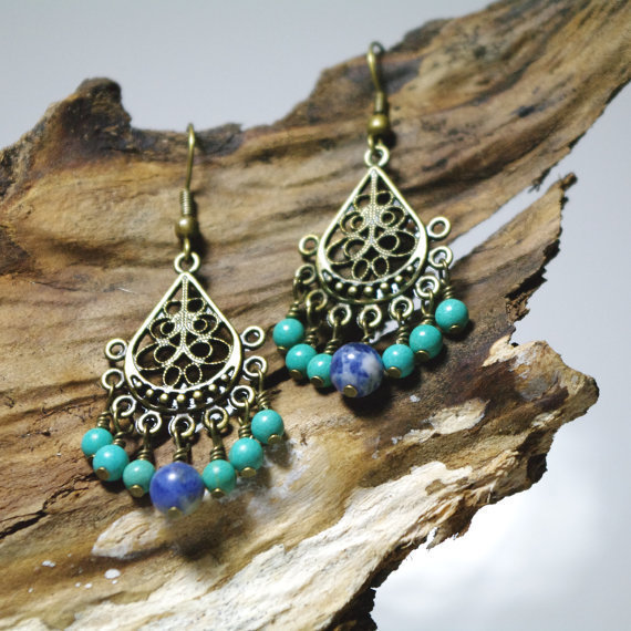 Gypsy Chandelier Howlite and Sodalite Beaded Earrings - Patience, Harmony and Peace