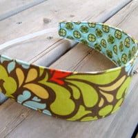 Women&#x27;s Reversible Fabric Headband - Designer cotton tan green blue red yellow flowers geometrical teen adult - Bandeau - Ready to ship