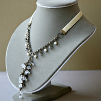 Vintage Inspired Cascading Czech Glass Flower Necklace with Ivory Ribbon Bridal Necklace