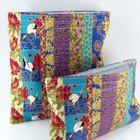 Eco-friendly Reusable Sandwich Bag and Snack Bag Set - Birds Flowers Oriental Classy Flower Bridesmaid Gift - 2 sacs - Ready to ship