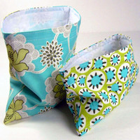 Reusable Sandwich Bag and Snack Bag Set - Amy Butler Classy Flowers Blue Turquoise Ivory Bridesmaid Gift Ecological Washable - 2 sacs