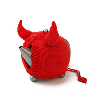 Knitted teapot cozy novelty red devil horns tea cosy knit unique unusual cozies Made to Order