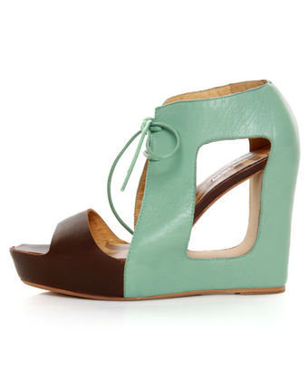 Matiko Paris Light Blue & Brown Lace-Up Cutout Wedges - $208.00