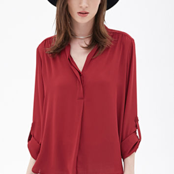 Collarless Chiffon Blouse