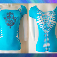"Juniors / Womens Turquoise Cut Shirt "" Hamsa"" Zen Inspired Cut Top Size Small, Medium, Large, XL, 2XL,3XL"
