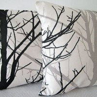 Two Black and White Forest Cushion Covers, contemporary designer fabric slip covers, throw pillows, decorative cushions, accent pillows