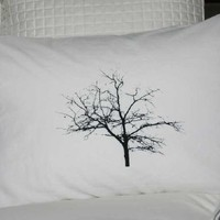Supermarket - Tree Pillowcase Standard Black on White from Branch Handmade