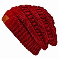 Luxury Divas Burgundy Thick Slouchy Knit Oversized Beanie Cap Hat