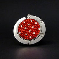 Polka Dot foldable bag hanger made with Swarovski flatback crystals  - Red