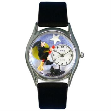 SheilaShrubs.com: Whimsical Womens Halloween Flying Witch Black Leather Watch DDDSD557961 by Whimsical Watches : Watches