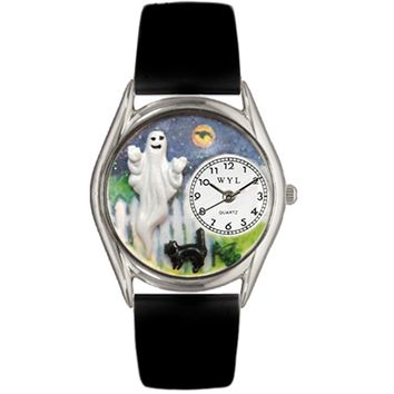 SheilaShrubs.com: Whimsical Womens Halloween Ghost Black Leather Watch DDDSD557748 by Whimsical Watches : Watches