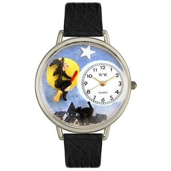 SheilaShrubs.com: Whimsical Unisex Halloween Flying Witch Black Skin Leather Watch DDDSD558000 by Whimsical Watches : Watches