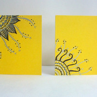 Lemon Yellow Hand Drawn Cards -Set of Two- Envelopes included
