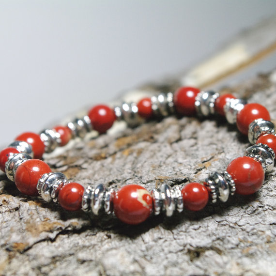 "Power and Courage Red Jasper and Silver Meditation 7"" Bracelet"