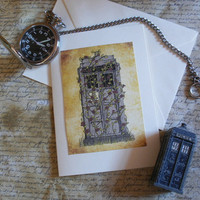 Rose- Doctor Who Tardis inspired Blank A6 Greetings Card / Notecard- Valentines Day Card