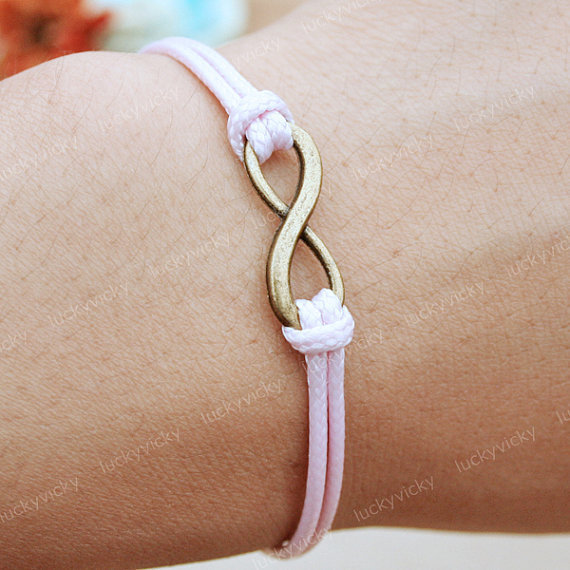 Infinity bracelet- Karma bracelet-  Adjustable pink string bracelet-Antique bronze bracelet