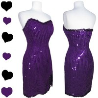 Vintage 80s PURPLE SEQUIN Cocktail Party PROM Dance Dress L 50s Pinup BOMBSHELL
