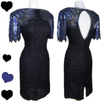 Vintage 80s Black BLUE Purple SEQUIN Party Prom Dress L XL Glam Beaded Cocktail
