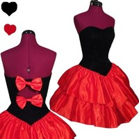 Vintage 80s Strapless Black RED BOWS Party PROM Dress S TIERED Full Skirt GLAM