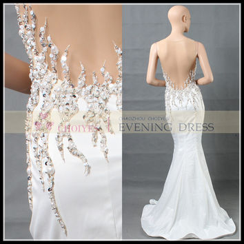2015 NEW DL62788 white satin sleeveless see-through back long train bead prom dress, View Prom Dress, Choiyes Prom Dress Product Details from Chaozhou Choiyes Evening Dress Co., Ltd. on Alibaba.com
