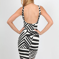 Black and White Zebra Print Tank Dress with Scoop Back
