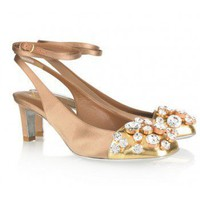 Yves Saint Laurent Ingnue Swarovski crystal-embellished satin slingbacks