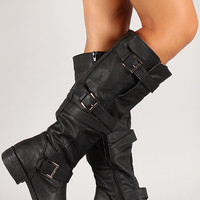 Multi-Strap Buckle Knee High Riding Boot