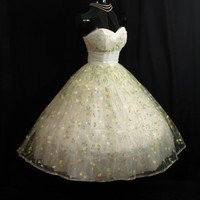 Vintage 1950's 50s STRAPLESS White Lemon Floral Roses Painted Flocked Tulle Party Prom Wedding DRESS Gown