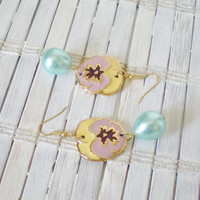 Pansy Flower Earrings with Seafoam Pearl Drops