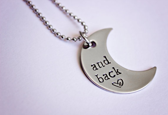 "Hand Stamped ""and back"" crescent moon necklace"