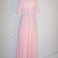 Vintage 1970s Baby Pink Chiffon Dress