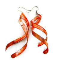 Spiral Industrial Style Grunge Red Earrings - Short