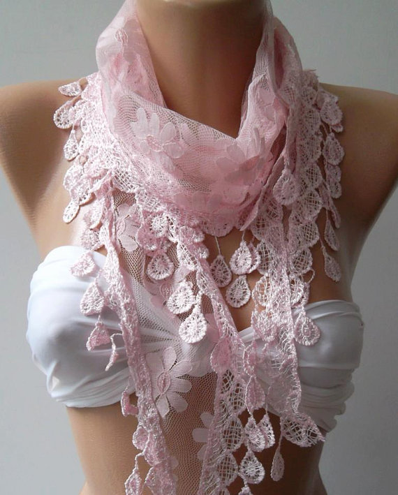 Pink - Shawl / Scarf with Lacy Edge
