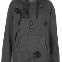 **Faux Fur Embroidered Jersey Hoodie by Unique - Grey