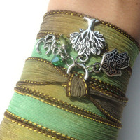 Tree of Life Hamsa Silk Wrap Bracelet Yoga Protection Jewlery Om Bohemian Anklet Necklace Green Earthy Unique Gift Under 50 Item S38