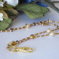 Beaded ID Badge Lanyard, Golden Crystals, Gold Heart Cutouts, White Pearls