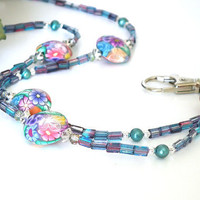 Beaded ID Badge Lanyard. Polymer Teal Raspberry Pink Flower. Silver