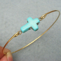 Classic Turquoise Cross Brass Bangle Bracelet