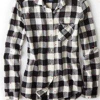 AEO Women's Box Check Flannel Shirt (Black)